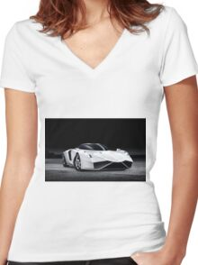White Car Women's Fitted V-Neck T-Shirt
