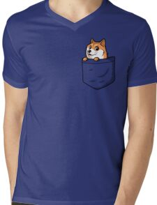 Doge Pocket (Pocket Doge T-Shirt) Mens V-Neck T-Shirt