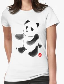 Ink Wash Panda Womens Fitted T-Shirt