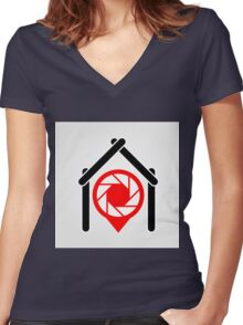 A placement with aperture sign inside a house Women's Fitted V-Neck T-Shirt