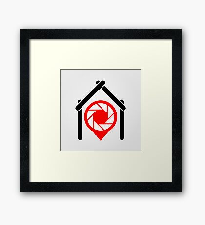 A placement with aperture sign inside a house Framed Print
