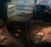 Cyberpunk room at dawn by Jujibla