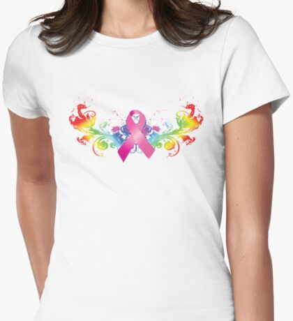 Breast Cancer Awareness Rainbow Womens Fitted T-Shirt