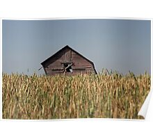 Leaning Alberta Farm Building Poster