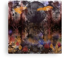 Grunge Fall Forest, digital painting Canvas Print