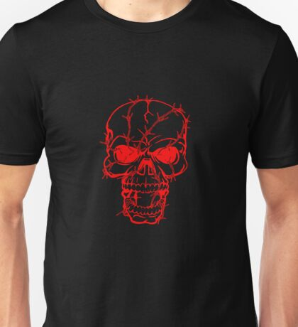 Barbwired Red Skull Unisex T-Shirt