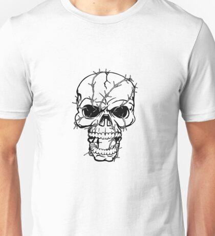 Barbwired Black Skull Unisex T-Shirt