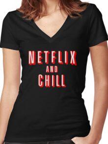 Netflix logo Black Women's Fitted V-Neck T-Shirt