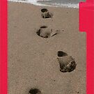 iphone, footprints in the sand. by Lynne Haselden