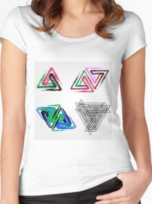 Penrose triangles with crayons Women's Fitted Scoop T-Shirt