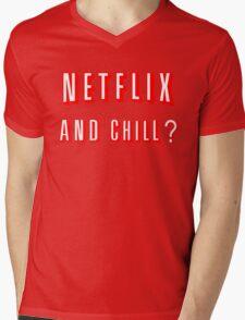 Netflix and Chill Black Mens V-Neck T-Shirt