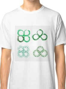 Beautiful green leaves stylized with organic lines  Classic T-Shirt