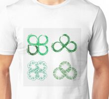 Beautiful green leaves stylized with organic lines  Unisex T-Shirt