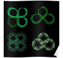 Beautiful green leaves stylized with organic lines  Poster