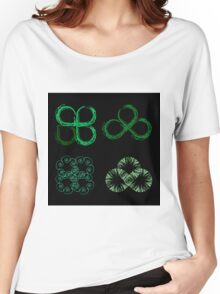 Beautiful green leaves stylized with organic lines  Women's Relaxed Fit T-Shirt