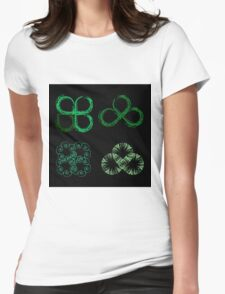 Beautiful green leaves stylized with organic lines  Womens Fitted T-Shirt