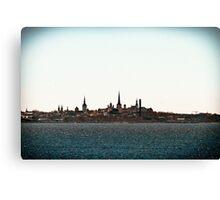 Tallinn Silhouette Canvas Print