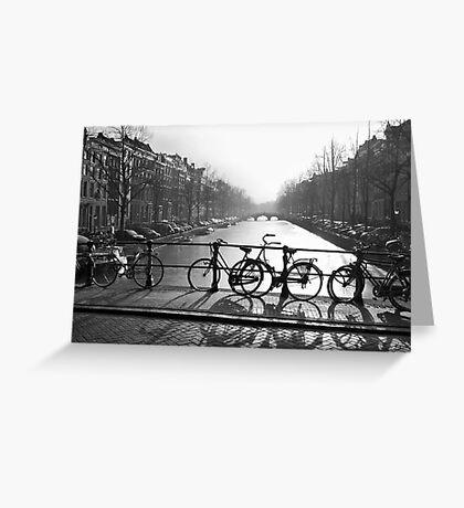 Bicycles on the Bridge Greeting Card
