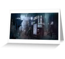 Cyberpunk Street at night Greeting Card