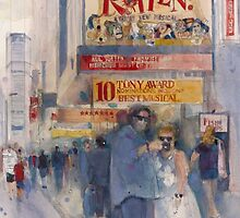 Something Rotten - Broadway Musical - Selfie - New York Theatre District Watercolor by Dorrie  Rifkin