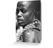 Maasai Warrior with Tribal Markings Greeting Card