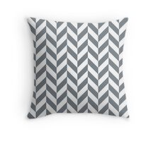CoolGrey Offset Chevrons Throw Pillow