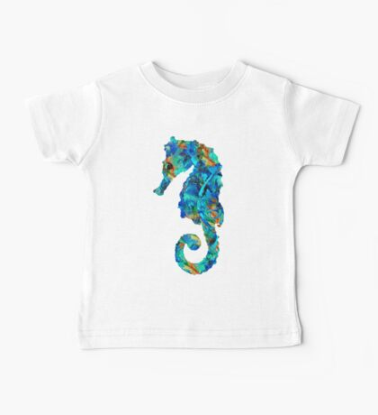 Blue Seahorse Art by Sharon Cummings Baby Tee
