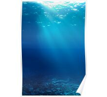 Rays of sunlight shining into sea, underwater view Poster