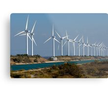 Row of wind turbines along canal, France, Camargue Metal Print