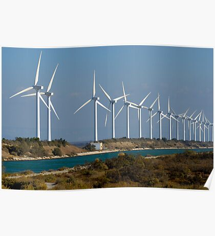 Row of wind turbines along canal, France, Camargue Poster
