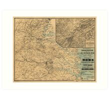 The Approaches from Washington to Richmond Civil War Map (1864) Art Print