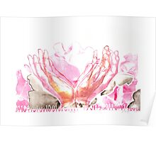 mercy flower hands in bloom binary code litho print Poster