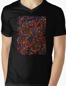 Abstract #10 Chaos in Red & Blue Mens V-Neck T-Shirt