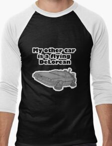My other car is a flying DeLorean (glowing) Men's Baseball ¾ T-Shirt