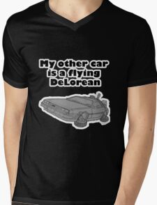 My other car is a flying DeLorean (glowing) Mens V-Neck T-Shirt