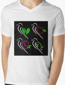 Abstract birds Mens V-Neck T-Shirt