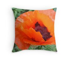 Tissue Paper Poppy Throw Pillow