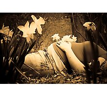 Pregnant with Daffodils Photographic Print