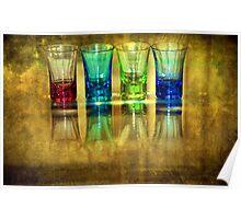 Four Vodka Glasses Poster