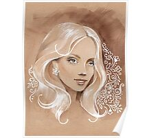 Girl on toned paper Poster