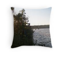 a peek at the boats Throw Pillow