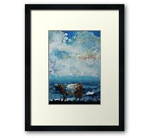Belted Galloway Cow Stormy Cloudy Sky Framed Print