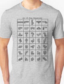 All 35 Free Hexominoes T-Shirt