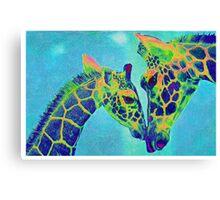 blue giraffes Canvas Print