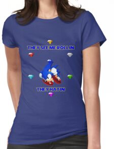 Sonic with emeralds Womens Fitted T-Shirt