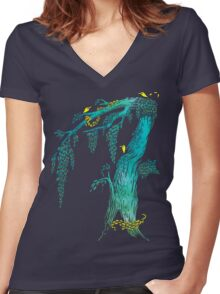 Tree Birds Women's Fitted V-Neck T-Shirt