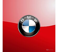 BMW - 3D Badge on Red Photographic Print
