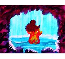 Bathing in the Grotto, watercolor Photographic Print