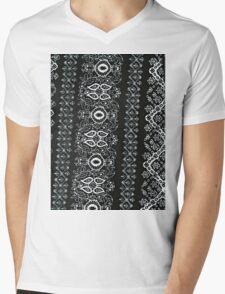 Black and White Pattern Mens V-Neck T-Shirt