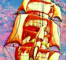 Golden Clipper in Full Sail iPhone Case by Dennis Melling